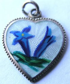 VINTAGE DECO 1930s GERMAN SILVER GUILLOCHE ENAMEL GENTIAN FLOWER HEART CHARM
