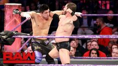 Is TJP doing the dirty work of Cruiserweight Champion Neville here against Austin Aries on WWE Raw?