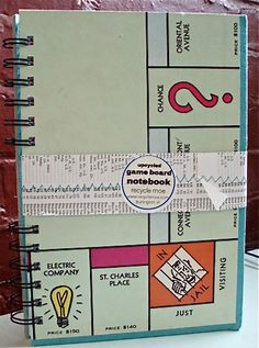 Monopoly upcycled, recycled notebook / journal!