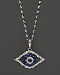 Diamond and Sapphire Evil Eye Pendant Necklace in 14K White Gold, 18"