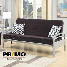 Hamilton Futon  #futon #couch #dorm #primointl Futon Bed, Small Space Solutions, Dorm, Small Spaces, Mattress, Futons, Hamilton, Furniture, Home Decor