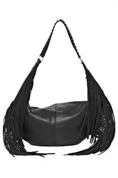 French Connection Indie Fringe Shoulder Bag in Black