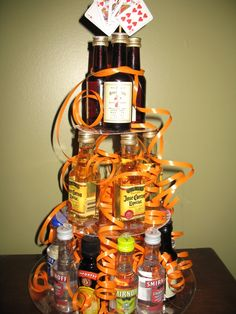 Liquor mini bottle tower for a guy's birthday party.