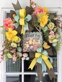 Spring Wreath, Easter Wreath, Spring Wreath for Front Door, Easter Wreath For Front Door, Easter Chic Wreath, Bless our Nest Wreath by BlueThistleCottage on Etsy https://www.etsy.com/listing/580978488/spring-wreath-easter-wreath-spring