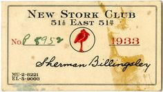 New Stork Club, speakeasy card.