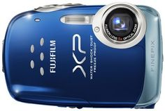 """Fujifilm FinePix XP10 12 MP Waterproof Digital Camera with 5x Optical Zoom and 2.7-Inch LCD (Blue) by Fuji. $199.99. Fujifilm FinePix XP10- 12MP, Fujinon 5x Periscopic Optical Zoom, 2.7"""" LCD, New uni-body chassis with a tactile grip finish, 4-Way Protection: Waterproof - 10ft (3M), Shockproof - 3ft (1M) and Freezeproof 14*F (-10*C).  Other features include: Face Detection w/ Red Eye Removal, Digital Image Stabilization, High Sensitivity 1600 ISO, 6 Scene - SR ..."""