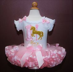 """Birthday Tutu with Golden Carousel Horse..."""