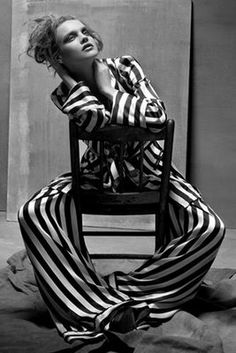 Slouchy Striped Suit - black & white fashion photography // Ann Demeulemeester