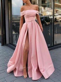 Pink Off Shoulder Satin Long Prom Dresses High Slit f58b1a83823c