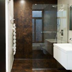 resina redoxy , parete bagno