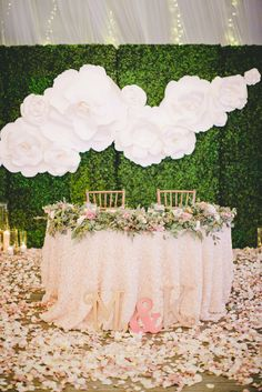 Large White Gardenia Decorative Backdrop | Onelove Photography https://www.theknot.com/marketplace/onelove-photography-danville-ca-223204 | Kat Keane Weddings | The Little Branch | Scinema Weddings