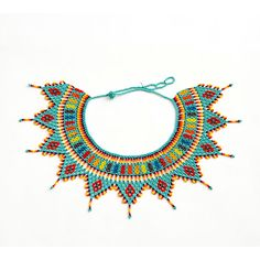 Tribal Collar Bib Necklace Unique Amazon by ColombianMadeShop Unique Necklaces, Ribbon Embroidery, Aqua Blue, Dark Red, Lilac, Beaded Jewelry, Collars, Beading, Crochet Necklace