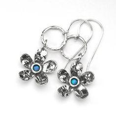 cf8c5c692 Hook flower earrings with opal stone. Silver JewelleryOpal JewelrySterling  Silver JewelryFlower EarringsDrop EarringsFrostPrettyAmazonFlowers