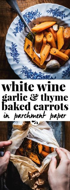 Use your oven wisely and make these baked carrots this holiday season! It's an easy to follow recipe with just a handful of flavorful ingredients, such as thyme, garlic and browned butter. The white wine adds a rustic elegance and makes a delicious sauce as the carrots bake. This is the absolute best way to make roasted carrots for Thanksgiving or Christmas dinner, or any time you want something special without a ton of work!
