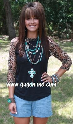 Lace Get Together Black Burnout Baseball Tee with Cheetah Lace Sleeves-NOW IN KIDS SIZES! www.gugonline.com