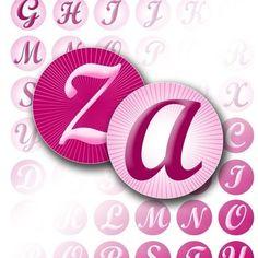 Pink alphabet letter monogram digital collage bottle cap pink hot pink jewelry making paper supplies download file