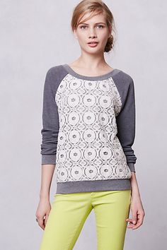 Anthropologie Sweater - Love that it's a raglan sleeve sweater - I like the not so frilly lace that's used
