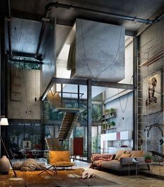 """apt-goals:  """"Combine metal, glass and geometric shapes with natural tones and organic shapes to unite industrial and natural form and find the perfect balance in your interiors.  """"  fresh*"""