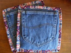 My mom would like these. ReCycled Denim Pair RePurposed Pocket PotHolders Hot Pads Pot Holders Handmade
