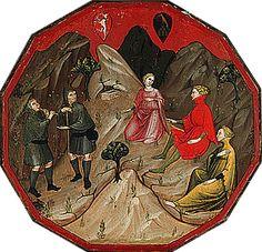 """Desco del Parto, (plateau d'accouchée) vers 1410, Maître Anonyme, Metropolitan Museum, New York. - La scène est tirée d'une comédie de Boccace """"Commedia delle ninfe fiorentine"""" écrite en 1342."""