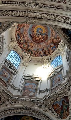Cupola of St.Stephan's Cathedral, Passau Passau, Bavaria, Baroque Architecture, Beautiful Architecture, Architecture Design, Religious Architecture, Fresco, Cathedral Basilica, Cathedral Church, Danube River Cruise, Fine Art