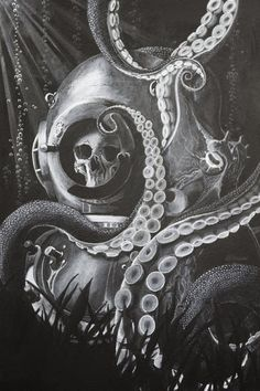 Image result for octopus tattoo sleeve black and white