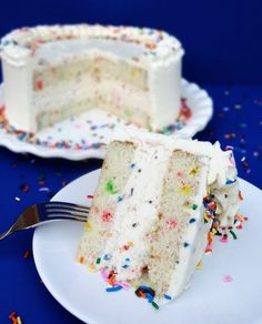 Funfetti Cake Batter Ice Cream Cake with Rainbow Chip Icing  {Funfetti Week}