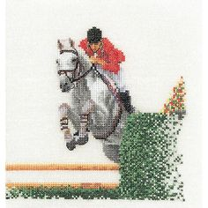 "Showjumper On Aida Counted Cross Stitch Kit-6.25""X6.75"" 18 Count"