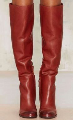 Red Leather Boots, Red Boots, Leather Heels, High Heel Boots, Heeled Boots, Shoe Boots, High Heels, Boutique Fashion, Winter Mode