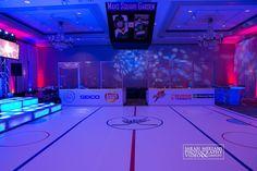 Hockey Theme Bar Mitzvah 4.8.17 Custom Dancefloor, Jumbo Tron, Penalty Box