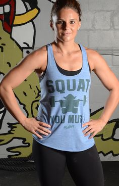 """""""Squat You Must"""" blue workout tank"""