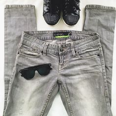 """Empyre Grey Distressed Skinny Jeans Grey skinny's for when you aren't feeling blue. Just the right amount of distressing and super skinny for an ultra fitted look. 30"""" waist, 30.5"""" inseam. Empyre Jeans Skinny"""
