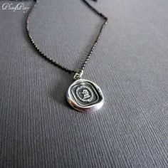 Wisdom and Faith Elephant Wax Seal Necklace in by PlumAndPoseyInc, $59.00