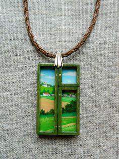 Купить Деревенское окошко. 3D-кулон - зеленый, деревня, деревенский стиль…