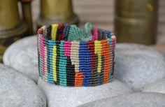 Colourful boho-ethnic macrame bracelet with waxed thread