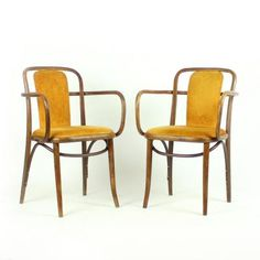 Bentwood Chairs in Gold Velvet by Michael Thonet, 1920s, Set of 2 2