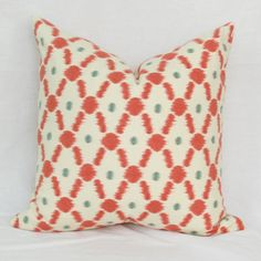 "Coral ikat dot decorative throw pillow cover. 18"" x 18"" pillow cover."