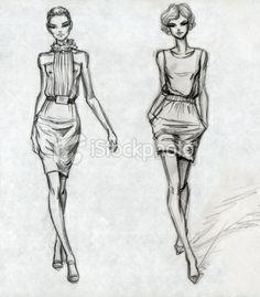 Secteur de la mode, Croquis, Illustration et peinture, Dessin au crayon, Mannequin Illustration vectorielle libre de droits.