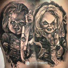 Chucky and Tiffany tattoo❤️ Clown Tattoo, Payasa Tattoo, Chucky Tattoo, Body Art Tattoos, Sick Tattoo, Tiffany Tattoo, Horror Movie Tattoos, Bride Of Chucky, Horror Themes