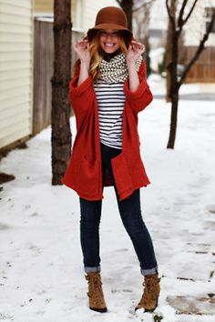 brown ankle boots + skinny jeans + striped top + red coat + striped scarf + floppy hat