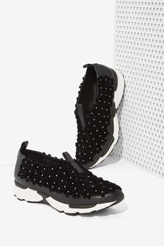 Jeffrey Campbell Aleksa Leather Trainer - Floral | Shop Sneakers at Nasty Gal
