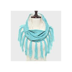 Blue Fleece Lined Cable Knit Tassel Trim Infinity Scarf