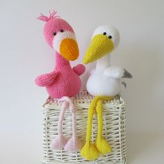 Knitting pattern for stork and flamingo
