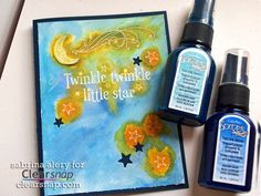 Make a fun baby card using spray inks! Spritz on, use with an Art Screen, or dilute with water – there are so many things you can do with Spritzers, Sprays! | Spritz & Twinkle Newborn Card by Sabrina Alery - Clearsnap Blog
