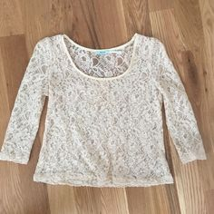 Lace top Super cute lace cream colored top! In great condition. Kimchi Blue Tops Crop Tops