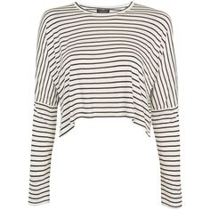 TopShop Petite Long Sleeve Stripped Crop Top ($28) ❤ liked on Polyvore featuring tops, monochrome, long-sleeve crop tops, white top, petite long sleeve tops, viscose tops and rayon tops