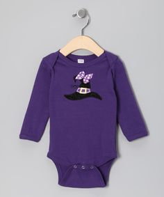 Holiday by Petunia Petals Purple Witch Hat Bodysuit - Infant | zulily
