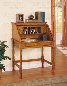 Roll Top Secretary Desk by Coaster Furniture by Coaster Home Furnishings. $344.56. This magnificent roll top secretary desk comes in a conventional design. It is available in a stylish oak finish and has decoratively turned legs for a stylish appearance. The cubby holes and storage drawers can be ideally hidden by means of a roll top keeping untidiness out of the sight. The Desk includes a roll top making a super handy and ordered home office. Serving as a comfy w...