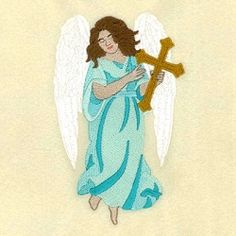 Heavenly Angel with Cross - 5x7 | What's New | Machine Embroidery Designs | SWAKembroidery.com Starbird Stock Designs