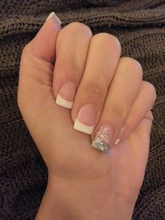 winter acrylic nails with white and silver sparkle